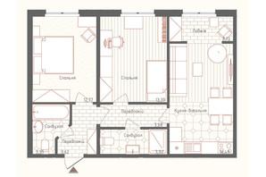 ЖК Новая Англия: планировка 2-комнатной квартиры 61.02 м²
