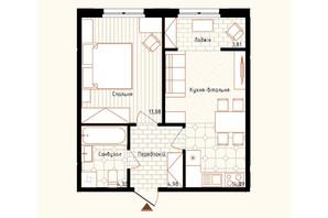ЖК Новая Англия: планировка 1-комнатной квартиры 41.08 м²