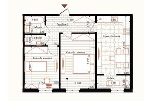 ЖК Новая Англия: планировка 2-комнатной квартиры 60.71 м²