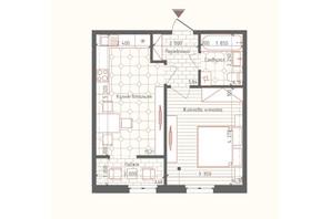 ЖК Новая Англия: планировка 1-комнатной квартиры 41.11 м²