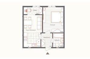 ЖК Новая Англия: планировка 1-комнатной квартиры 41 м²