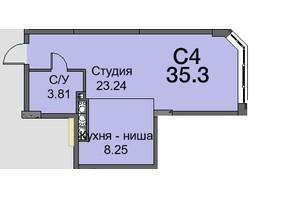 ЖК Новая Европа: планировка 1-комнатной квартиры 36.3 м²