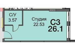 ЖК Новая Европа: планировка 1-комнатной квартиры 26.6 м²