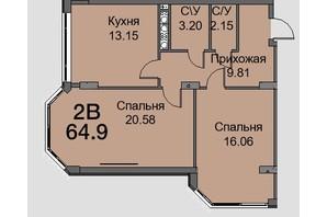 ЖК Новая Европа: планировка 2-комнатной квартиры 65.1 м²