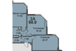 ЖК Новая Европа: планировка 2-комнатной квартиры 68.9 м²