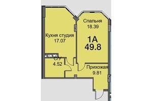 ЖК Новая Европа: планировка 1-комнатной квартиры 47.9 м²