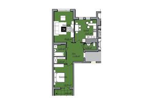 ЖК Нове життя: планування 2-кімнатної квартири 75.95 м²