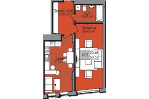 ЖК Нове життя: планування 1-кімнатної квартири 50.56 м²