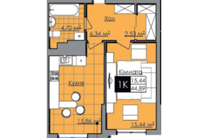 ЖК Нове життя: планування 1-кімнатної квартири 45 м²