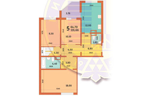ЖК Новомостицко-Замковецкий: планировка 5-комнатной квартиры 131.66 м²