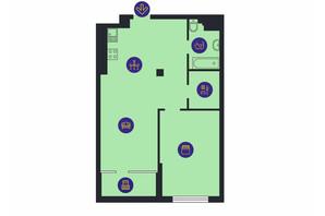 ЖК Новопечерська Вежа: планировка 1-комнатной квартиры 65.4 м²