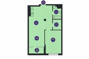 ЖК Новопечерська Вежа: планировка 1-комнатной квартиры 68.4 м²
