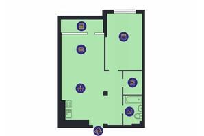 ЖК Новопечерська Вежа: планировка 1-комнатной квартиры 74.1 м²