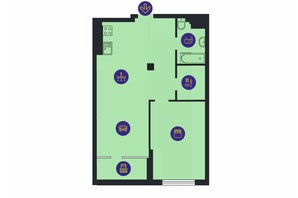 ЖК Новопечерська Вежа: планировка 1-комнатной квартиры 67.8 м²