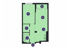 ЖК Новопечерська Вежа: планировка 1-комнатной квартиры 67.6 м²