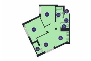 ЖК Новопечерська Вежа: планировка 2-комнатной квартиры 82.7 м²