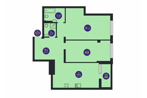 ЖК Новопечерська Вежа: планировка 2-комнатной квартиры 91.5 м²
