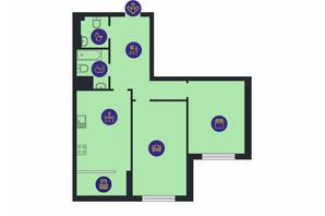ЖК Новопечерська Вежа: планировка 2-комнатной квартиры 81.8 м²