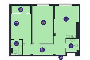 ЖК Новопечерська Вежа: планировка 2-комнатной квартиры 86.7 м²