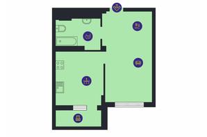 ЖК Новопечерська Вежа: планування 1-кімнатної квартири 45.24 м²