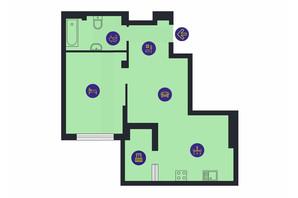 ЖК Новопечерська Вежа: планування 1-кімнатної квартири 54.54 м²