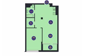 ЖК Новопечерська Вежа: планування 1-кімнатної квартири 39.43 м²