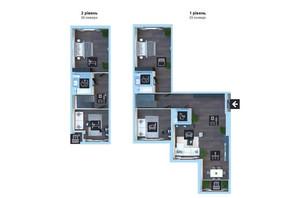 ЖК Новопечерська Вежа: планування 5-кімнатної квартири 195.3 м²
