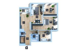 ЖК Новопечерська Вежа: планування 4-кімнатної квартири 133.8 м²