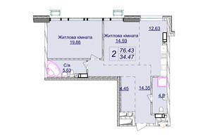 ЖК Новопечерские Липки: планировка 2-комнатной квартиры 76.43 м²