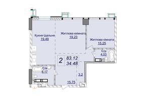 ЖК Новопечерские Липки: планировка 2-комнатной квартиры 83.12 м²