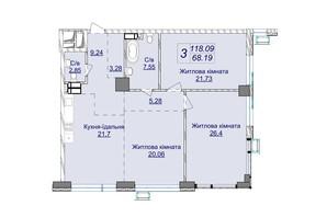 ЖК Новопечерские Липки: планировка 3-комнатной квартиры 118.09 м²