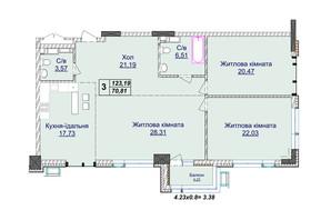 ЖК Новопечерские Липки: планировка 3-комнатной квартиры 123.19 м²