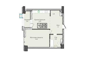 ЖК Новопечерские Липки: планировка 1-комнатной квартиры 54.84 м²
