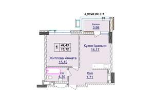 ЖК Новопечерские липки: планировка 1-комнатной квартиры 44.43 м²