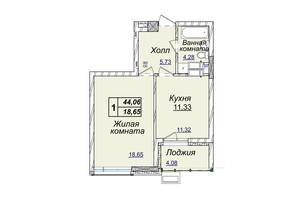 ЖК Новопечерские липки: планировка 1-комнатной квартиры 44.06 м²