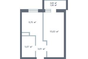 ЖК Новосел: планування 1-кімнатної квартири 33.75 м²