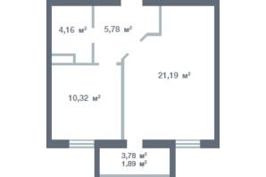 ЖК Новосел: планування 1-кімнатної квартири 42.34 м²