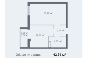 ЖК Новосел: планування 1-кімнатної квартири 42.56 м²