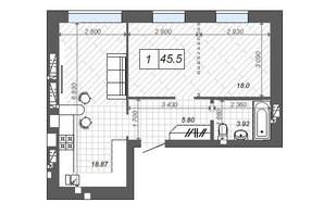ЖК Новые Метры Center: планировка 1-комнатной квартиры 45.5 м²