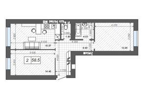 ЖК Новые Метры Center: планировка 2-комнатной квартиры 58.5 м²