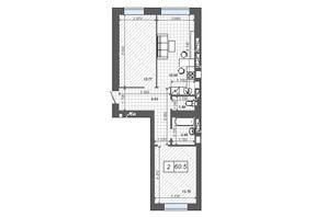 ЖК Новые Метры Center: планировка 2-комнатной квартиры 60.5 м²