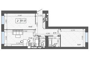 ЖК Новые Метры Center: планировка 2-комнатной квартиры 61 м²