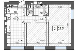 ЖК Новые Метры Center: планировка 2-комнатной квартиры 62.5 м²
