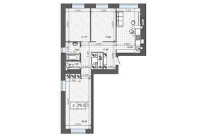 ЖК Новые Метры Center: планировка 3-комнатной квартиры 76.5 м²