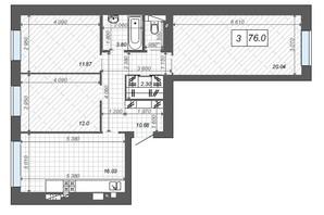 ЖК Новые Метры Center: планировка 3-комнатной квартиры 76 м²