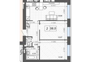 ЖК Новые Метры Center: планировка 2-комнатной квартиры 56.5 м²