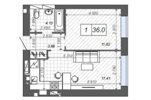 ЖК Новые Метры Center: планировка 1-комнатной квартиры 36 м²