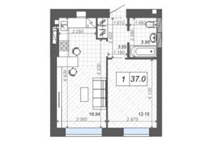 ЖК Новые Метры Center: планировка 1-комнатной квартиры 37 м²