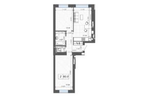 ЖК Новые Метры Center: планировка 2-комнатной квартиры 60 м²