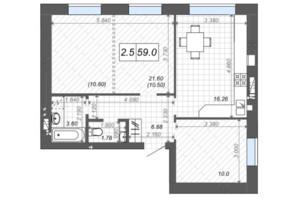 ЖК Новые Метры Center: планировка 2-комнатной квартиры 59 м²